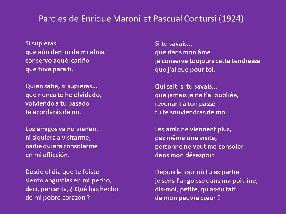 Paroles de Enrique Maroni et Pascual Contursi (1924)