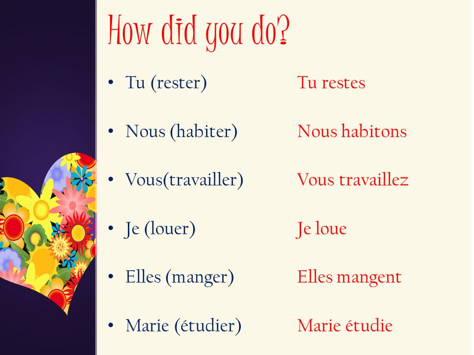 How did you do Tu (rester) Tu restes Nous (habiter) Nous habitons
