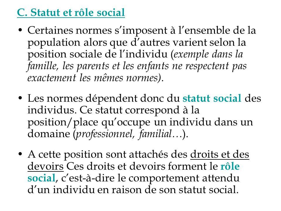 Statut social exemple