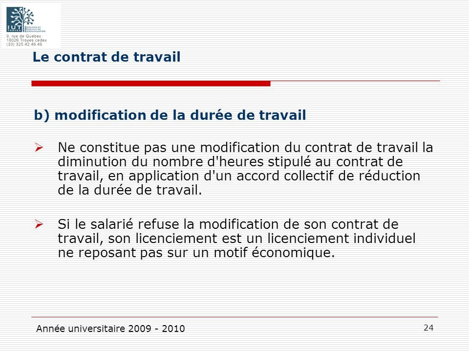 motif modification contrat de travail