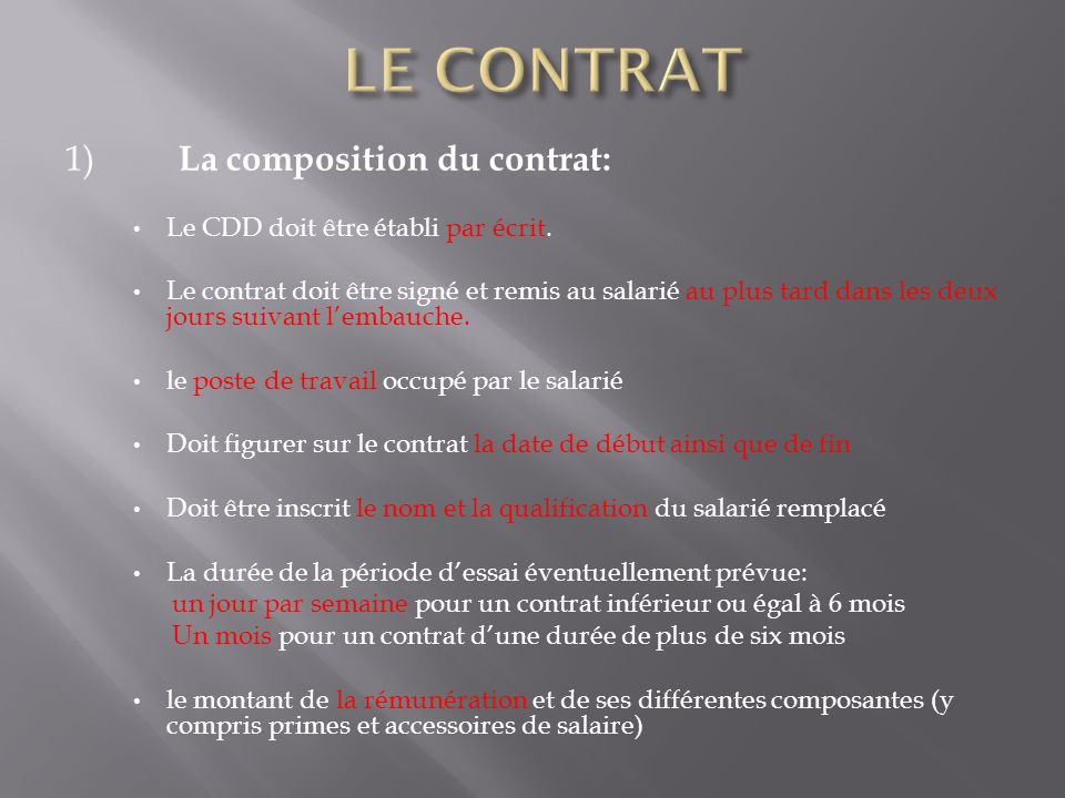 Le Contrat A Duree Determinee Ppt Video Online Telecharger