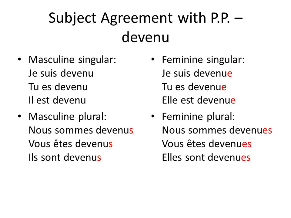Subject Agreement with P.P. – devenu