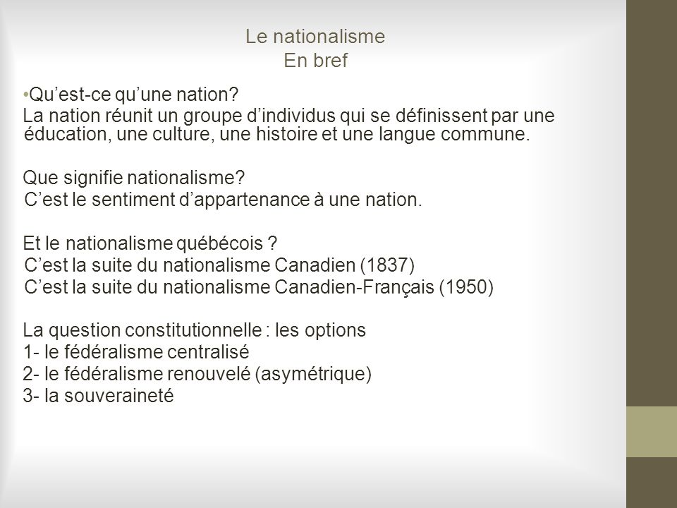 Le nationalisme En bref