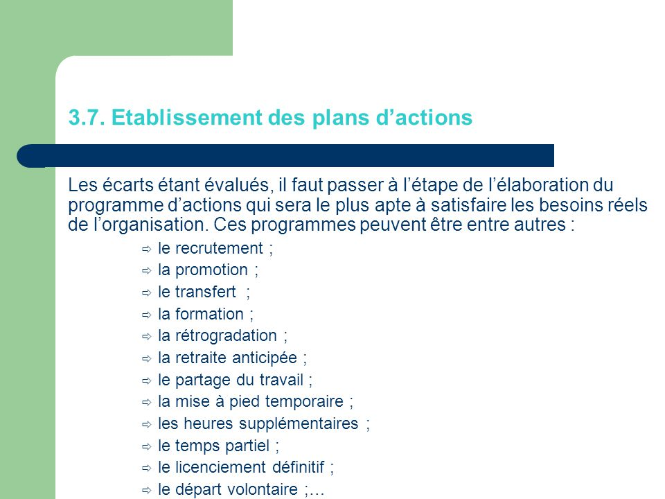 3.7. Etablissement des plans d'actions