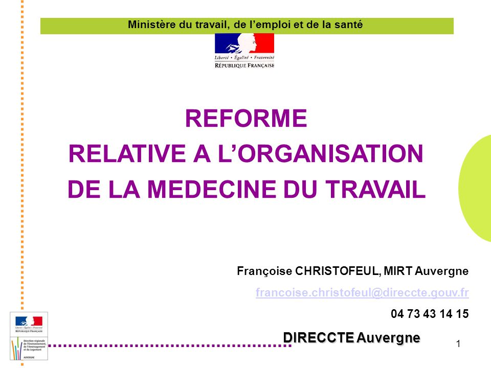 Reforme Relative A L Organisation De La Medecine Du Travail Ppt
