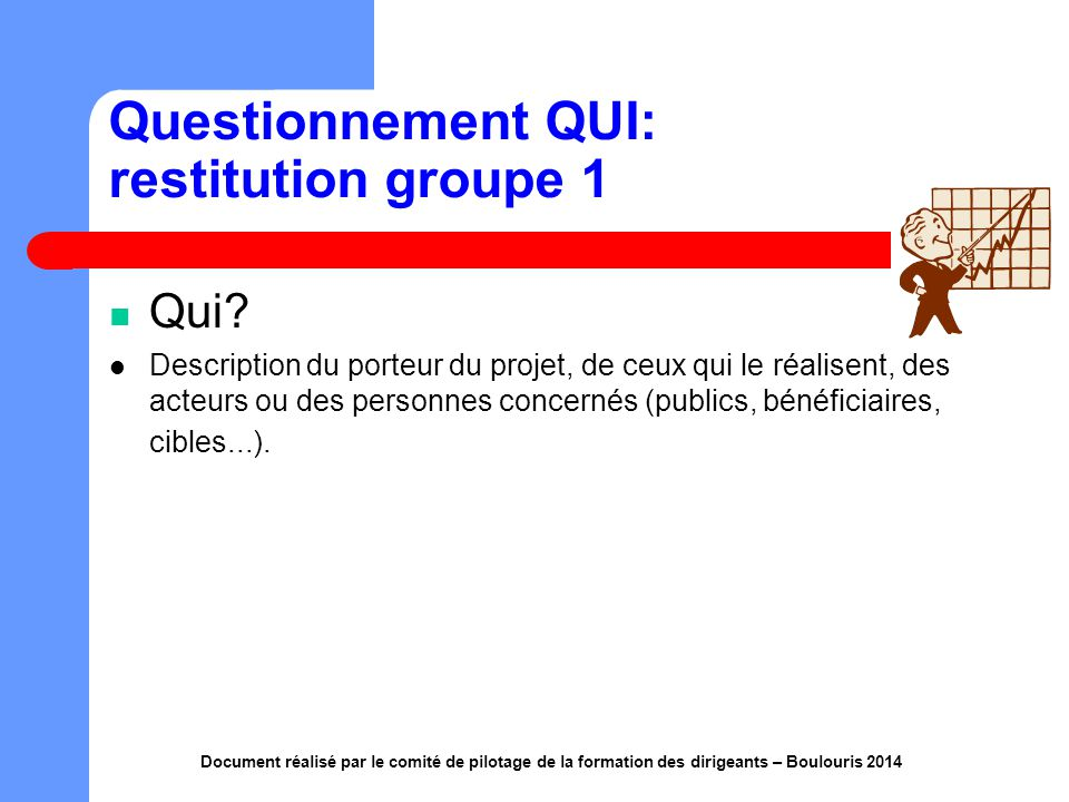 Questionnement QUI: restitution groupe 1