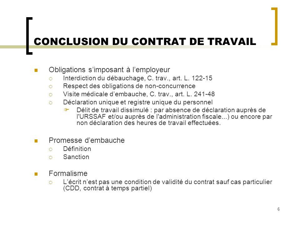 2 La Conclusion Du Contrat De Travail Ppt Telecharger