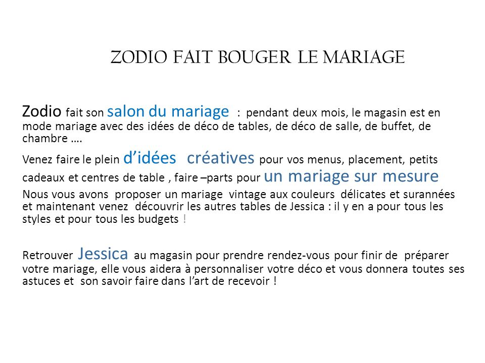 Zodio Fait Bouger Le Mariage Ppt Telecharger
