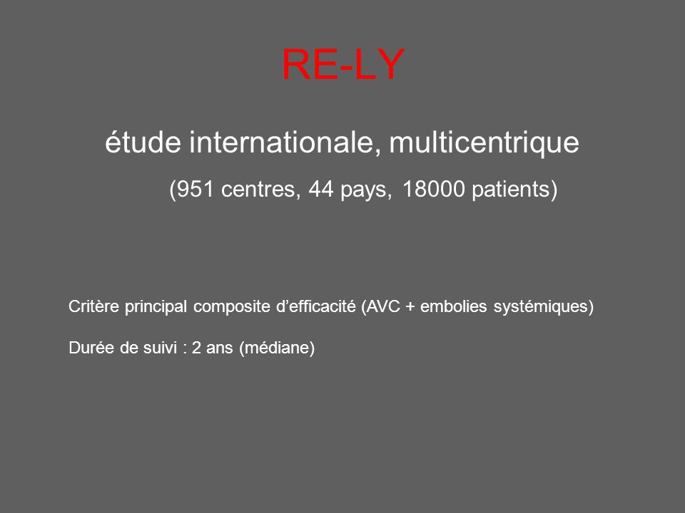 RE-LY étude internationale, multicentrique