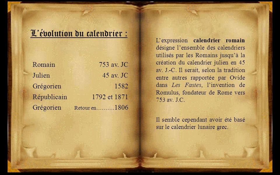 Calendrier Gregorien Et Republicain.L Evolution Du Calendrier