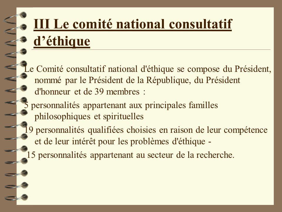 comité éthique national