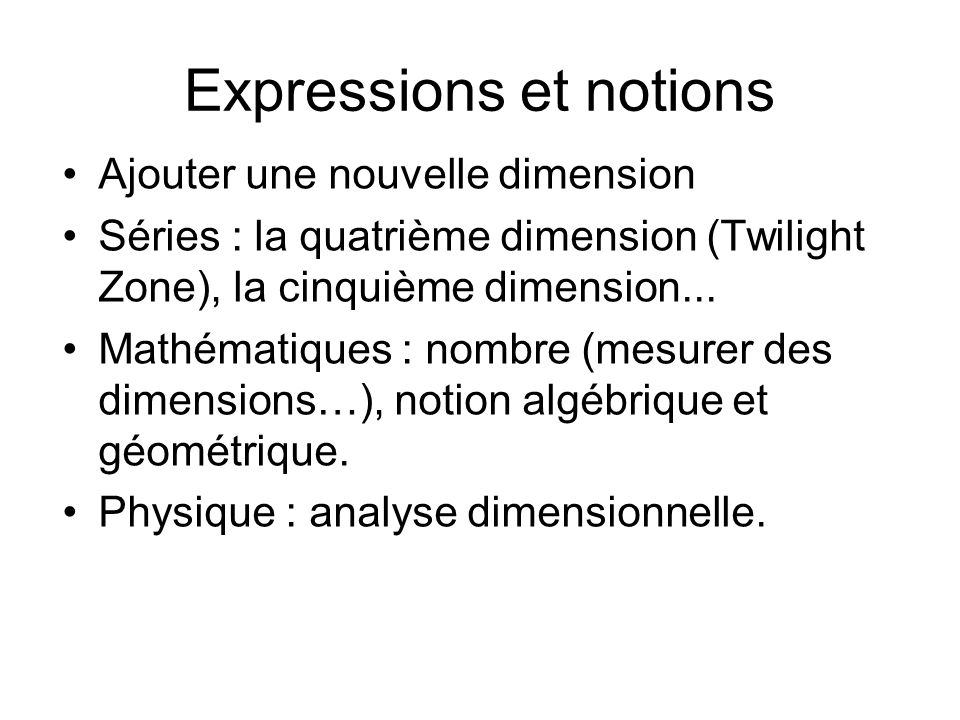 Expressions et notions