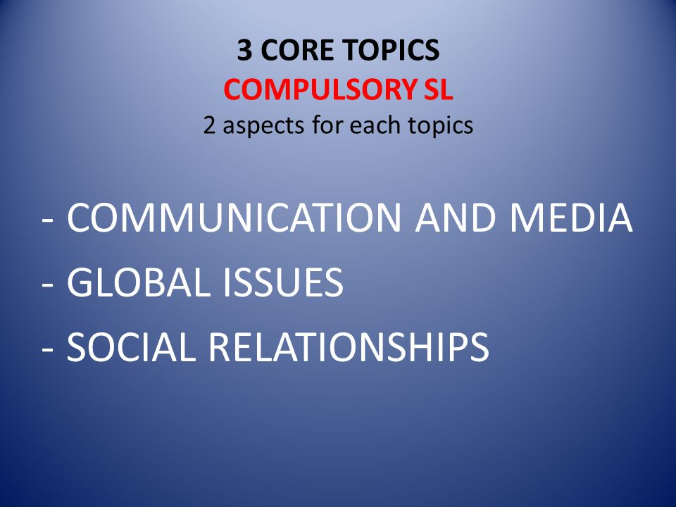 3 CORE TOPICS COMPULSORY SL 2 aspects for each topics