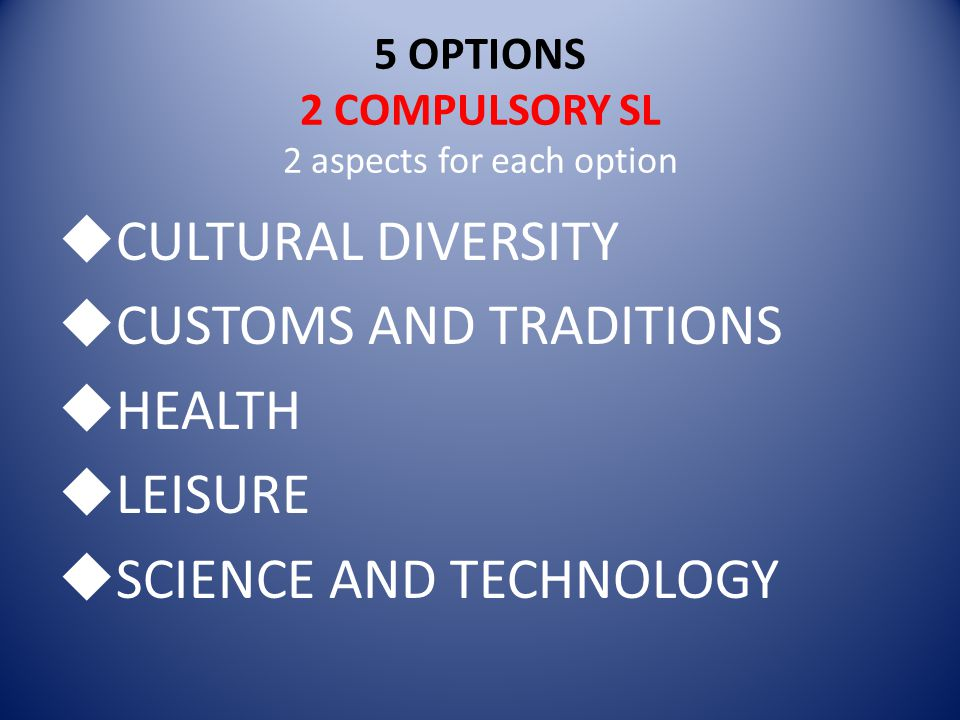 5 OPTIONS 2 COMPULSORY SL 2 aspects for each option