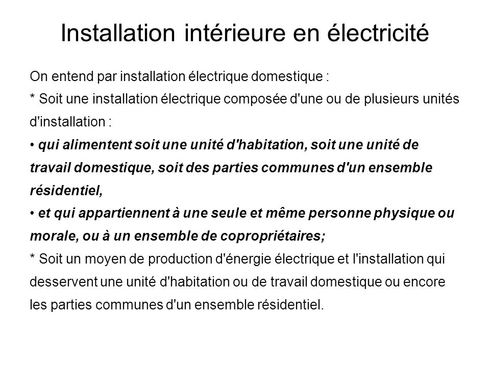 installations int rieures lectriques ppt t l charger. Black Bedroom Furniture Sets. Home Design Ideas