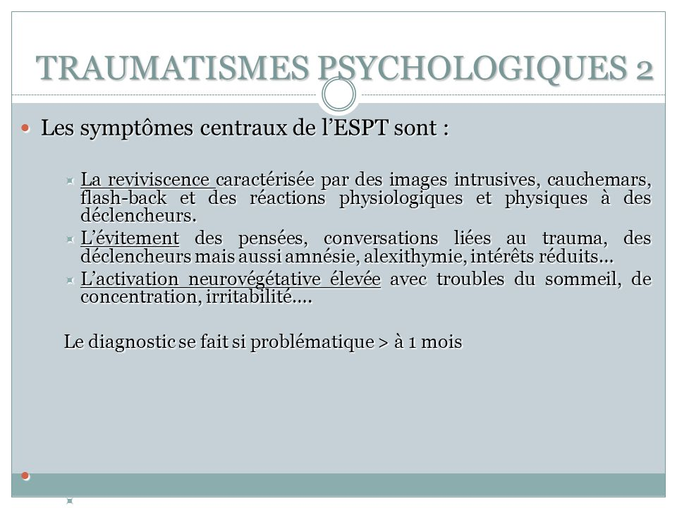 choc psychologique symptomes