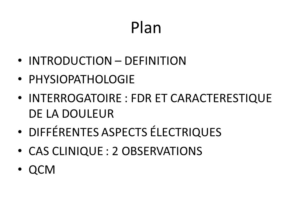 Plan INTRODUCTION – DEFINITION PHYSIOPATHOLOGIE