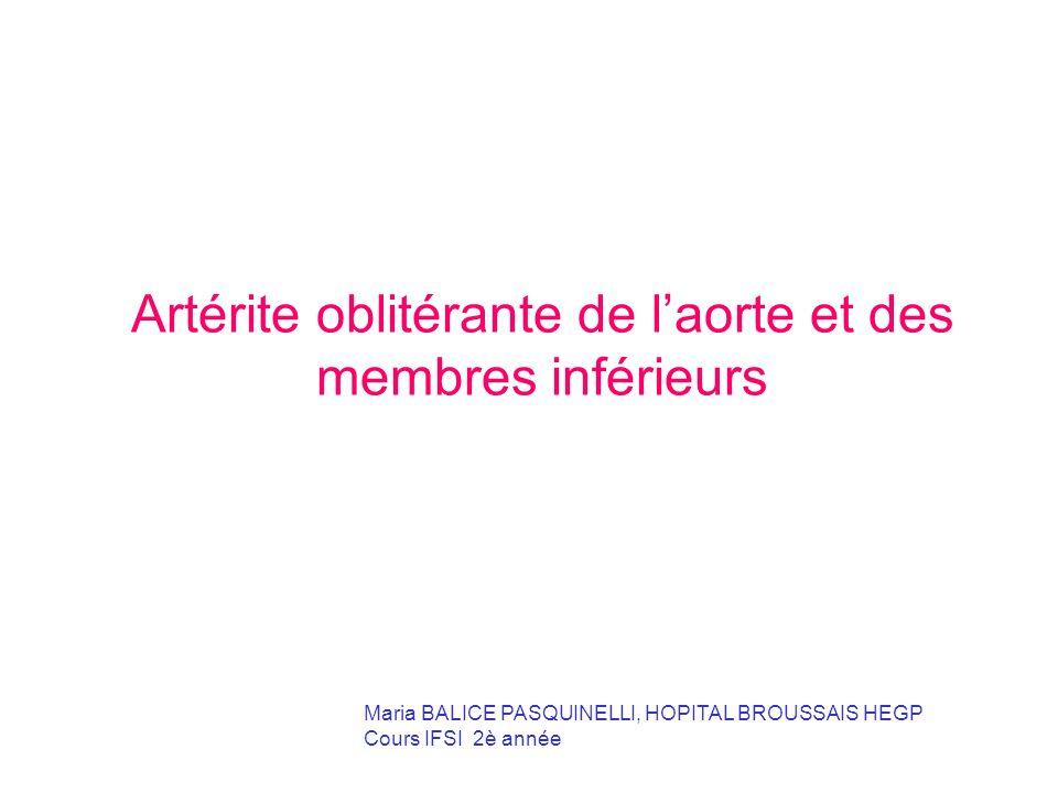 Artérite oblitérante de l'aorte et des membres inférieurs ...