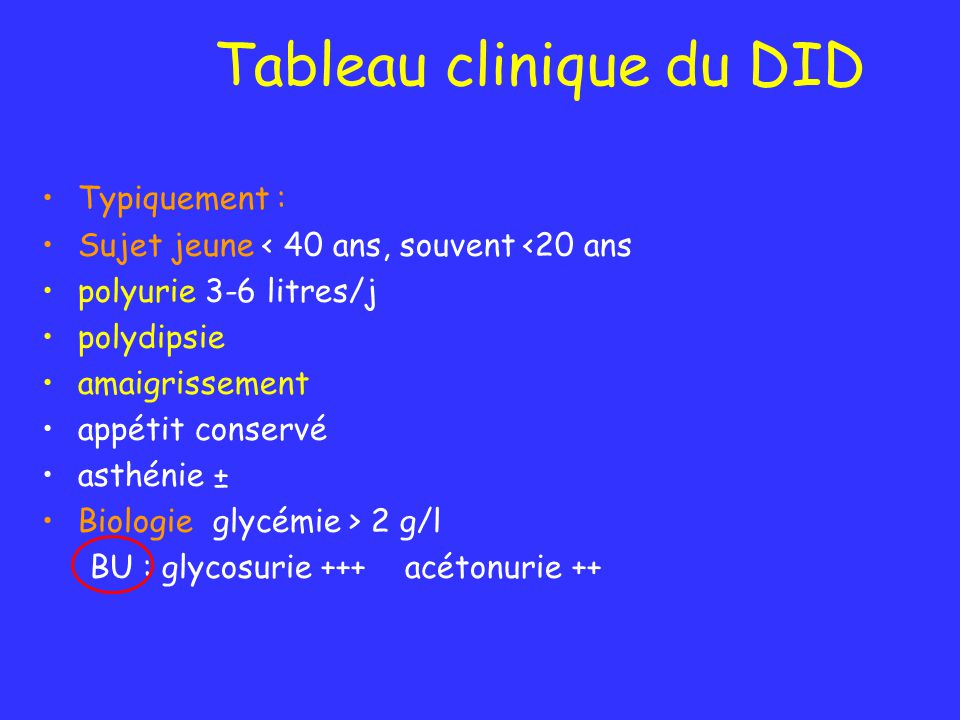 Tableau clinique du DID
