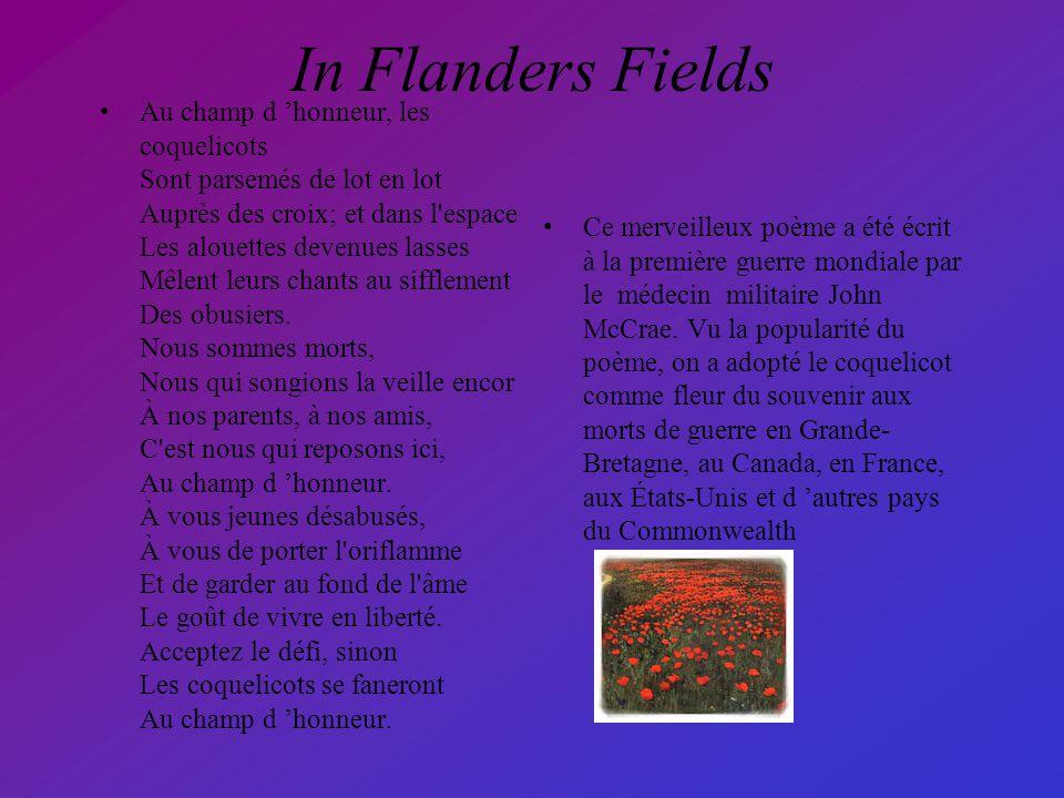 Poème In Flanders Fields Où Le Coquelicot Est Lemblème