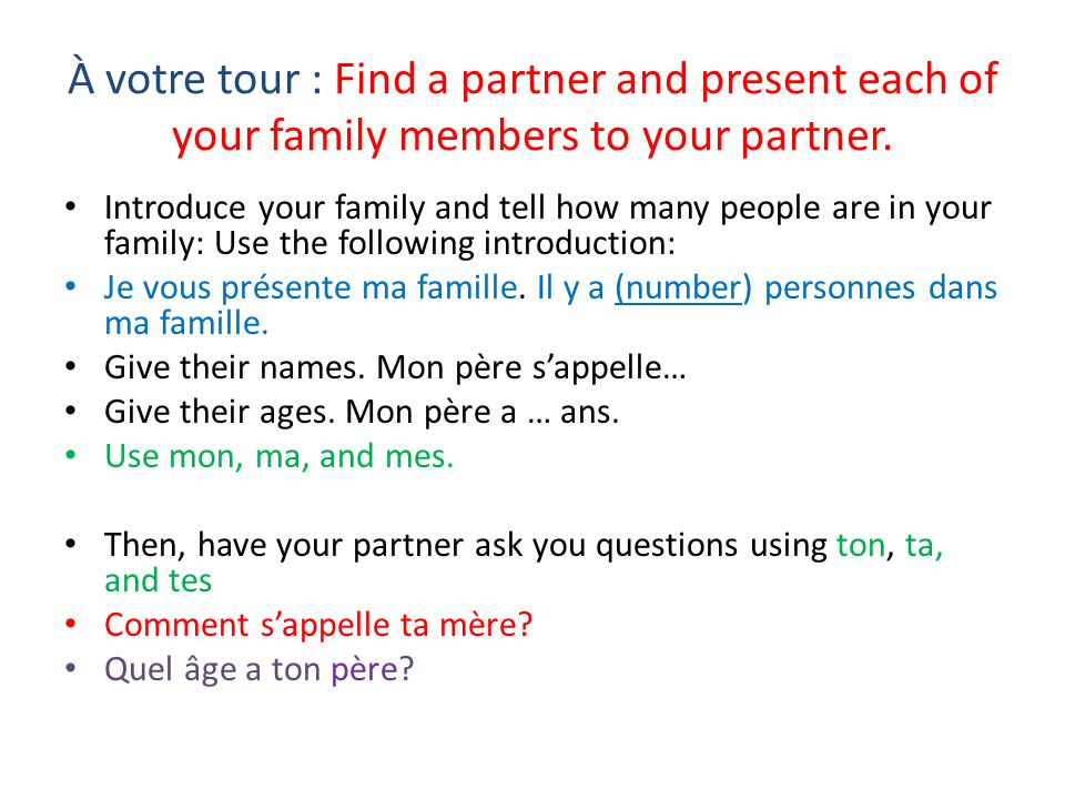 À votre tour : Find a partner and present each of your family members to your partner.
