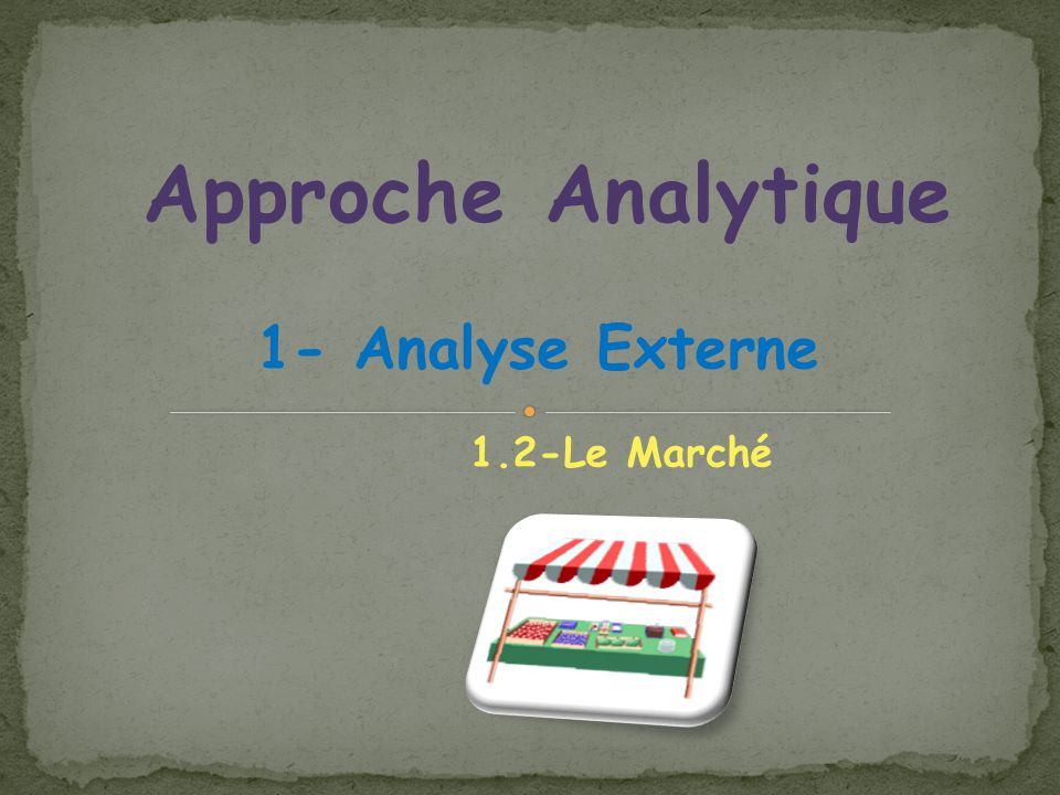 Approche Analytique 1- Analyse Externe 1.2-Le Marché