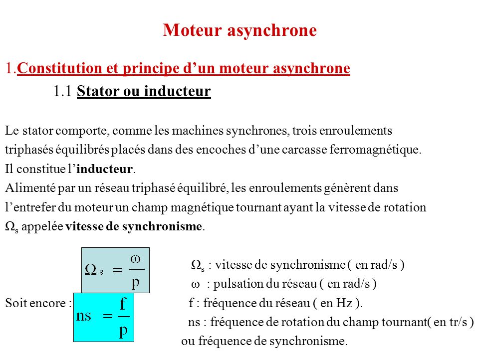 Moteur Asynchrone 1 Constitution Et Principe D Un Moteur Asynchrone