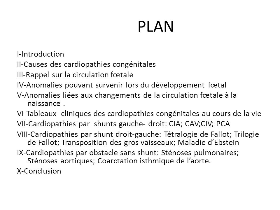 PLAN I-Introduction II-Causes des cardiopathies congénitales