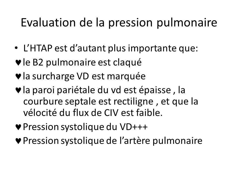 Evaluation de la pression pulmonaire