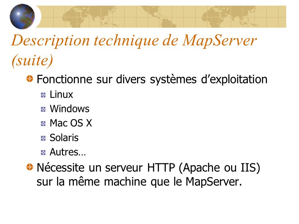 Étude comparative MapServer versus ArcGIS Server - ppt video