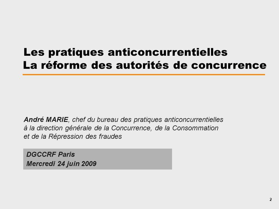 Les Pratiques Anticoncurrentielles La Rforme Des Autorits De Concurrence