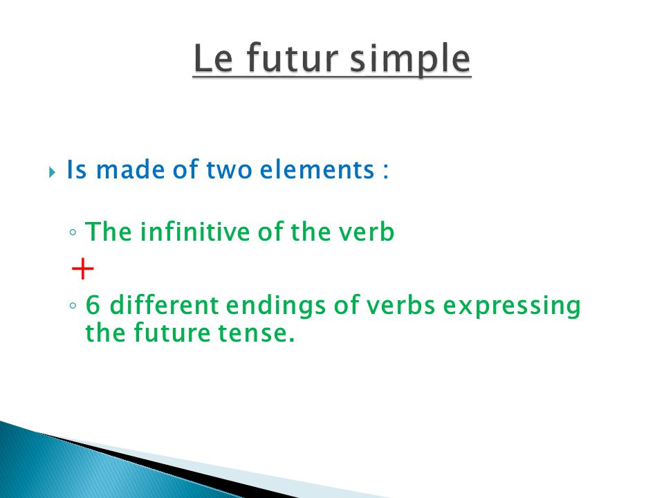 Le futur simple + Is made of two elements : The infinitive of the verb