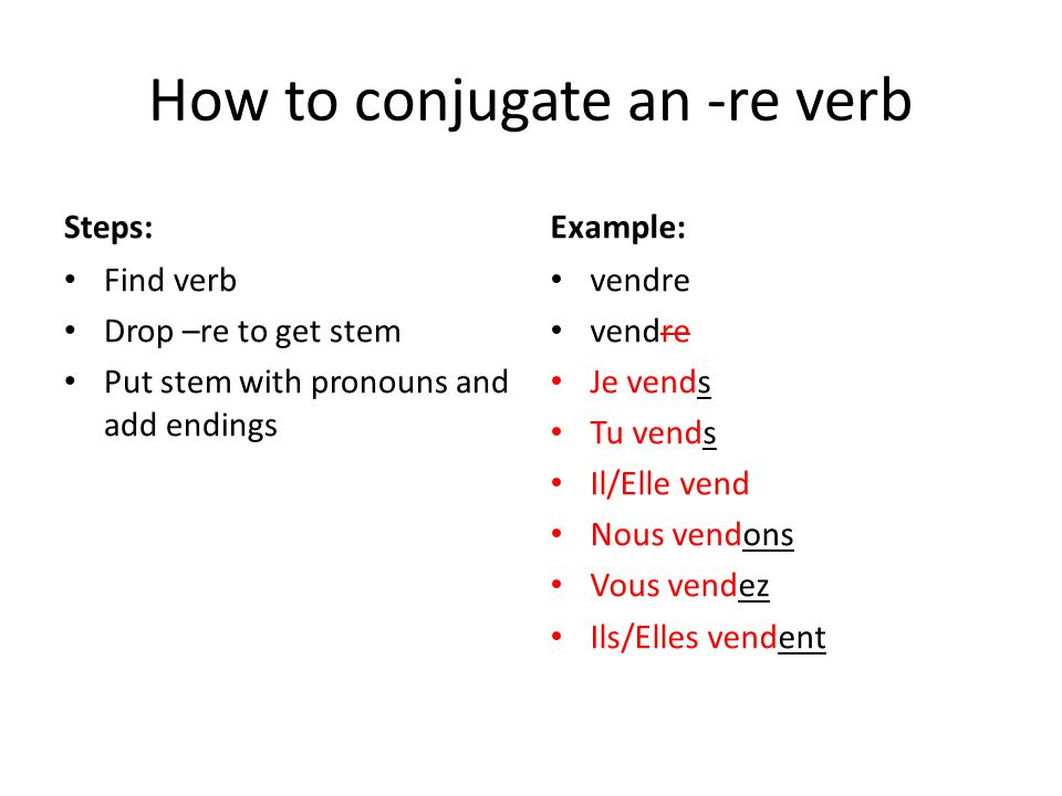 How to conjugate an -re verb