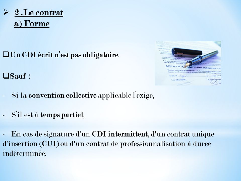 Le Contrat A Duree Indeterminee Ppt Video Online Telecharger