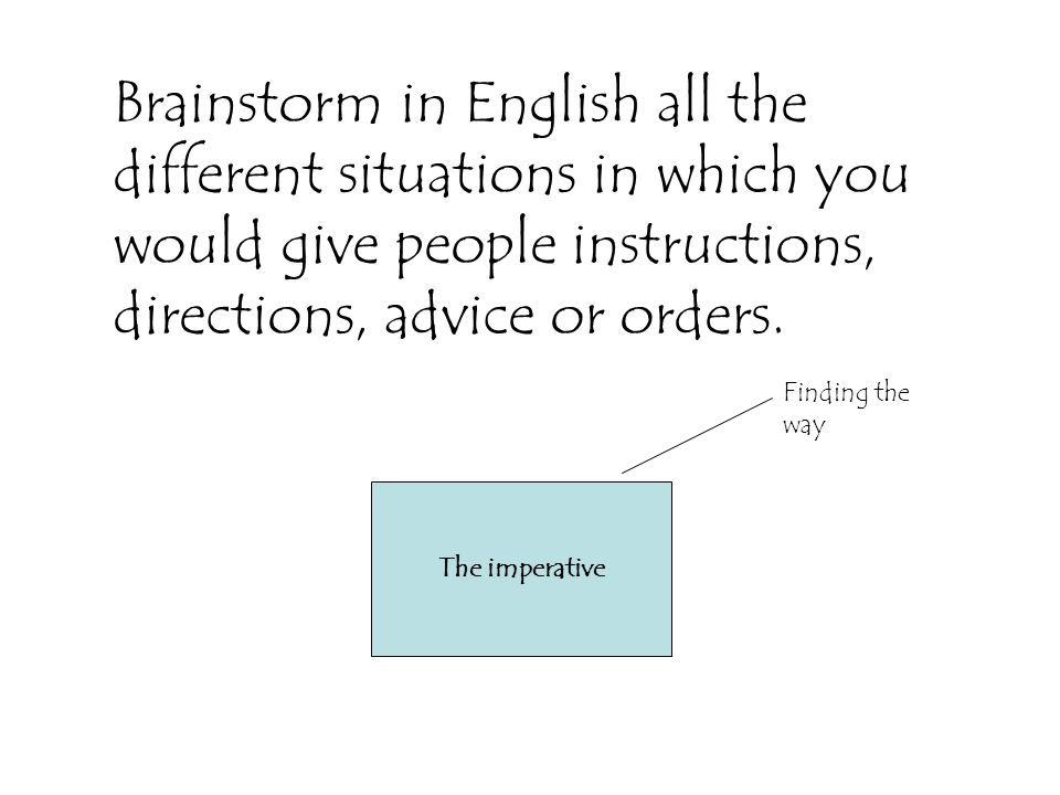 Brainstorm in English all the different situations in which you would give people instructions, directions, advice or orders.