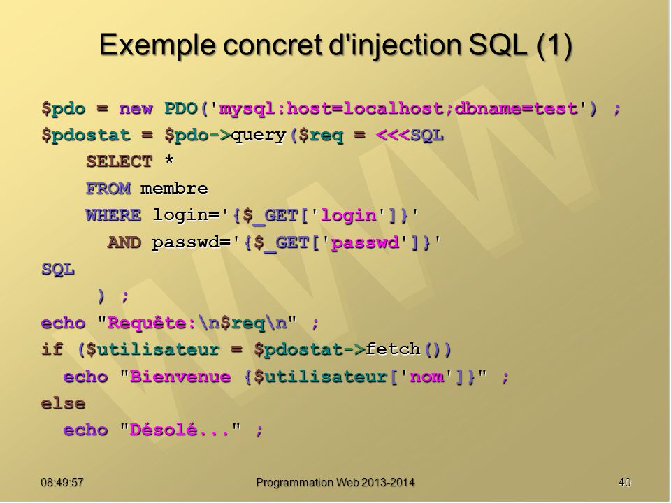 Exemple concret d injection SQL (1)