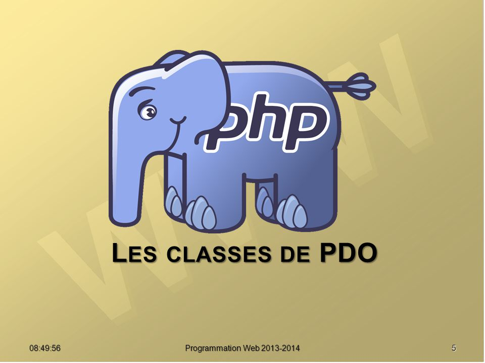 Les classes de PDO 07:21:24 Programmation Web