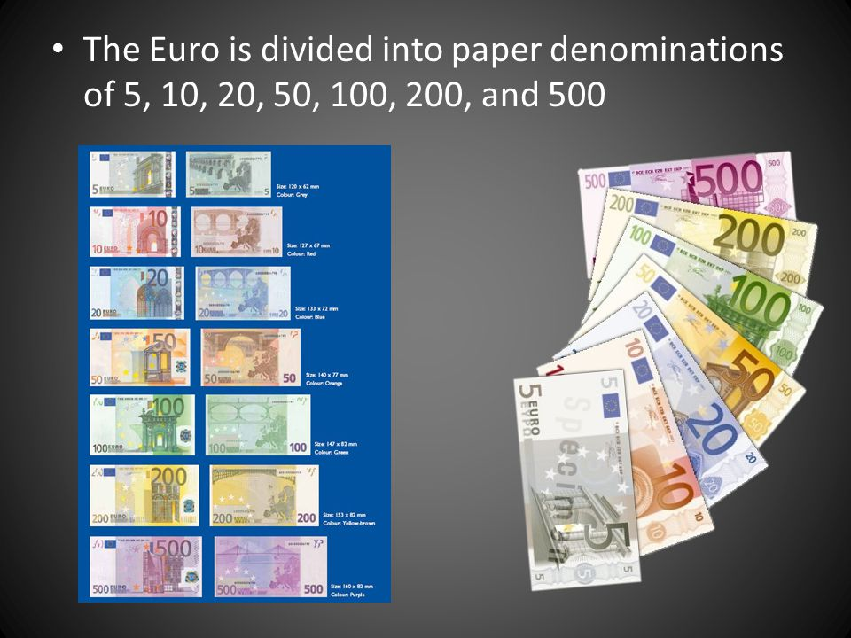 The Euro is divided into paper denominations of 5, 10, 20, 50, 100, 200, and 500
