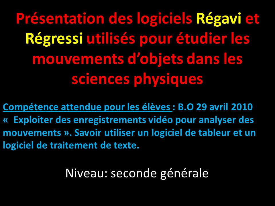 REGRESSI PHYSIQUE CHIMIE