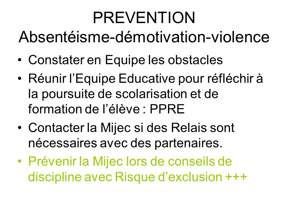 PREVENTION Absentéisme-démotivation-violence
