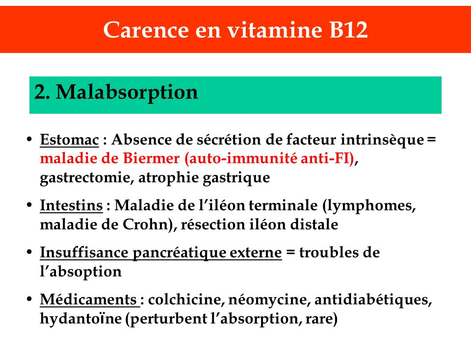 Carence en vitamine B12 2. Malabsorption