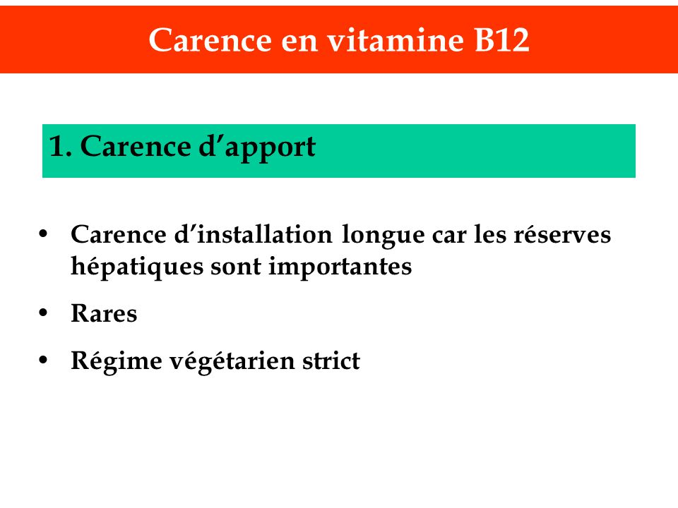Carence en vitamine B12 1. Carence d'apport