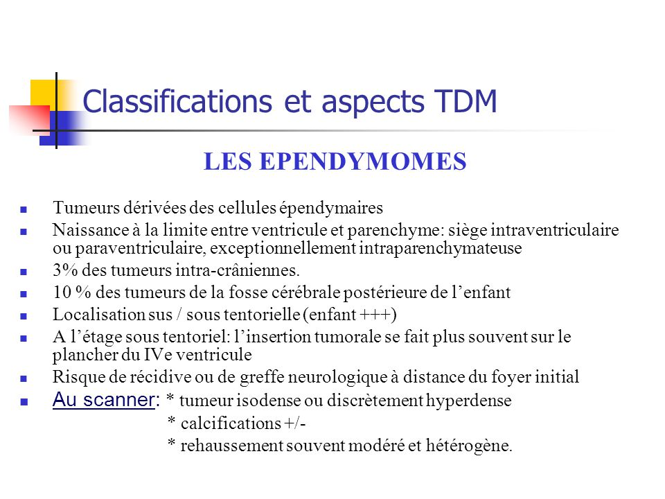 Classifications et aspects TDM