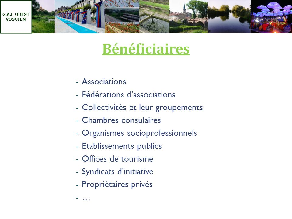 Bénéficiaires Associations Fédérations d'associations