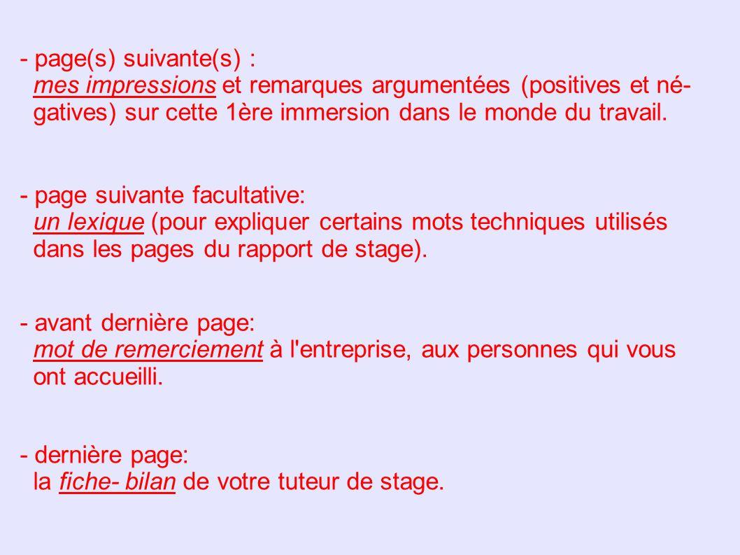 Le Rapport De Stage Il Doit Contenir Ppt Video Online