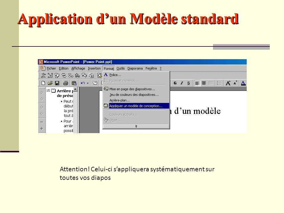 Application d'un Modèle standard