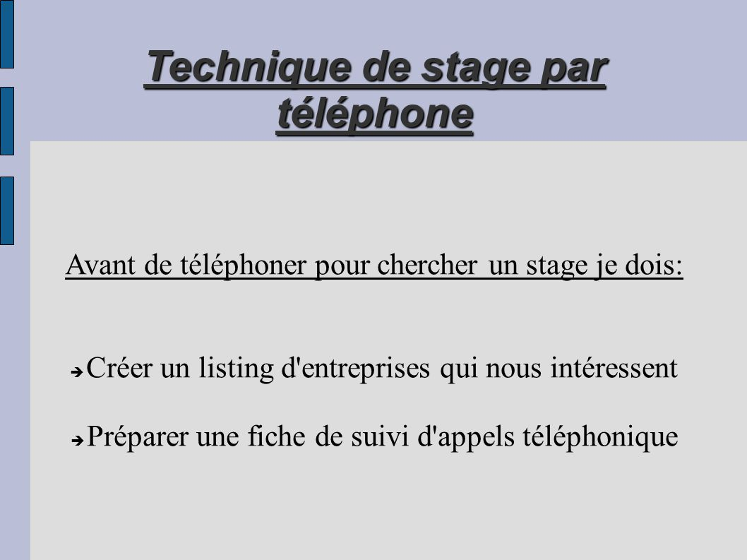 technique de stage par t u00e9l u00e9phone