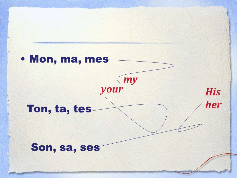 Mon, ma, mes my your His her Ton, ta, tes Son, sa, ses