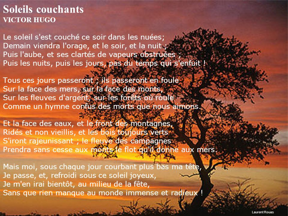 Les diapositives changent au clic de la souris ppt t l charger - Soleil couchant victor hugo ...