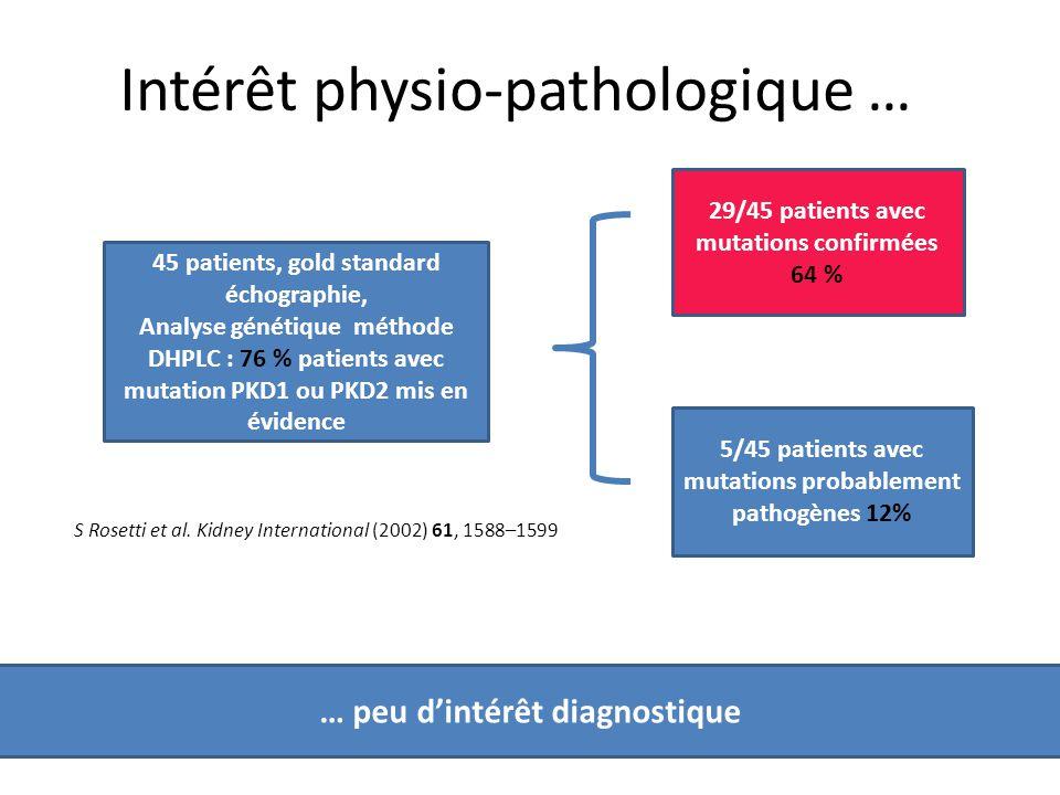 Intérêt diagnostique génétique dans la Polykystose rénale ...